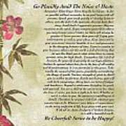 Desiderata Poem With Bamboo And Butterflies Poster