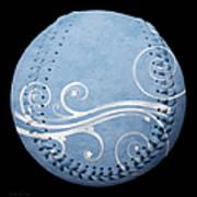 Designer Light Blue Baseball Square Poster