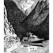 Anchored Safe Chatterbox Falls, British Columbia Inside Passage Poster