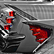 Desoto Red Tail Lights In Black And White Poster