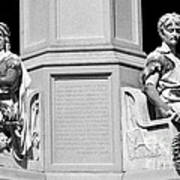 Detail Of Monument Statues - Bw Poster