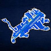 Detroit Lions Football Team Retro Logo License Plate Art Poster by Design Turnpike