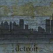 Detroit Michigan City Skyline Silhouette Distressed On Worn Peeling Wood Poster