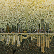 Detroit Skyline Abstract 4 Poster