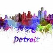 Detroit Skyline In Watercolor Poster