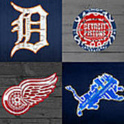 Detroit Sports Fan Recycled Vintage Michigan License Plate Art Tigers Pistons Red Wings Lions Poster