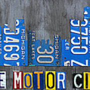 Detroit The Motor City Skyline License Plate Art On Gray Wood Boards  Poster