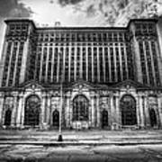 Detroit's Abandoned Michigan Central Train Station Depot In Black And White Poster