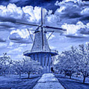 deZwaan Holland Windmill in Delft Blue Poster