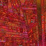 Diagonal Tiles In Reds Poster