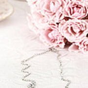 Diamond Necklace And Pink Roses Poster