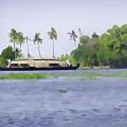 Digital Oil Painting - A Houseboat On Its Quiet Sojourn Through The Backwaters Of Allep Poster