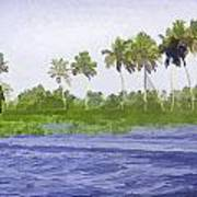 Digital Oil Painting - Water Rippling In The Coastal Lagoon Poster