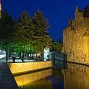 Dijver Canal At Night  Poster