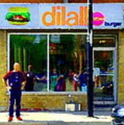 Dilallo Burger Notre Dame Ouest And Charlevoix  Montreal Art Urban Street Scenes Carole Spandau Poster