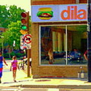 Dilallo Notre Dame Ouest And Charlevoix Sunny Street Montreal Urban City Scene Carole Spandau Poster