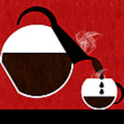 Diner Coffee Pot And Cup Red Pouring Poster