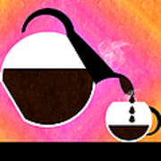 Diner Coffee Pot And Cup Sorbet Pouring Poster