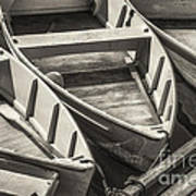 Dinghies Dockside Bw Poster