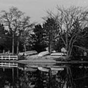 Dinghies Resting Tide Creek Black And White Poster