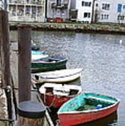 Dinghies Wait At The Pier Poster