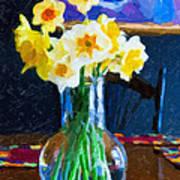 Dining With Daffodils Poster by Jo-Anne Gazo-McKim