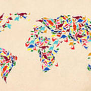 Dinosaur Map Of The World  Poster
