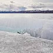 Disintegrating Candelized Melting Ice On Lake Shore Poster