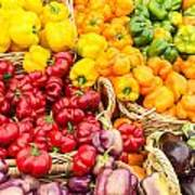 Display Of Fresh Vegetables At The Market Poster