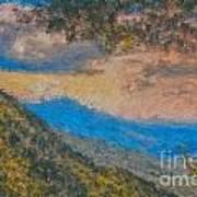 Distant Mountains - Digital Impression Paint Poster