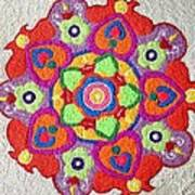 Diwali Rangoli Made With Coloured Rice Poster