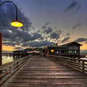 Dock Lights At Jekyll Island Poster by Debra and Dave Vanderlaan