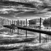 Dock Reflections-mono Poster
