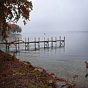 Dock On A Lake In Autumn Poster