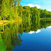 Dock On Mountain Lake Poster