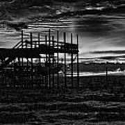 Dock Sunset Bw1 Poster