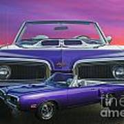 Dodge Rt Double Exposure Purple Sunset Poster