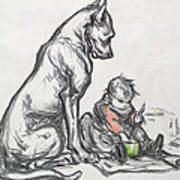 Dog And Child Poster by Robert Noir