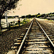 Dog Walk Along The Wayzata Train Tracks Poster