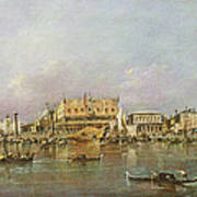 Doges Palace And View Of St. Marks Basin, Venice Oil On Canvas Poster