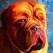 Vibrant Dogue De Bordeaux Painting On Blue Poster