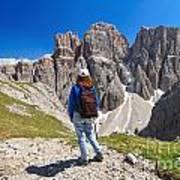 Dolomiti - Hiker In Sella Mount Poster