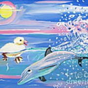 Dolphin Plays With Duckling Poster