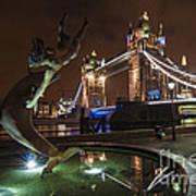 Dolphin Statue Tower Bridge Poster by Donald Davis