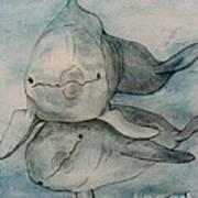 Dolphins Duo Underwater Art Cathy Peek Poster
