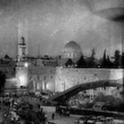 Dome Of The Rock -- Black And White Poster
