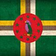 Dominica Flag Vintage Distressed Finish Poster