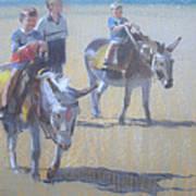 Donkeys At Borth Beach Poster