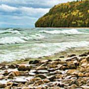 Door County Porcupine Bay Waves Poster