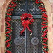 Door With Christmas Decoration  Poster